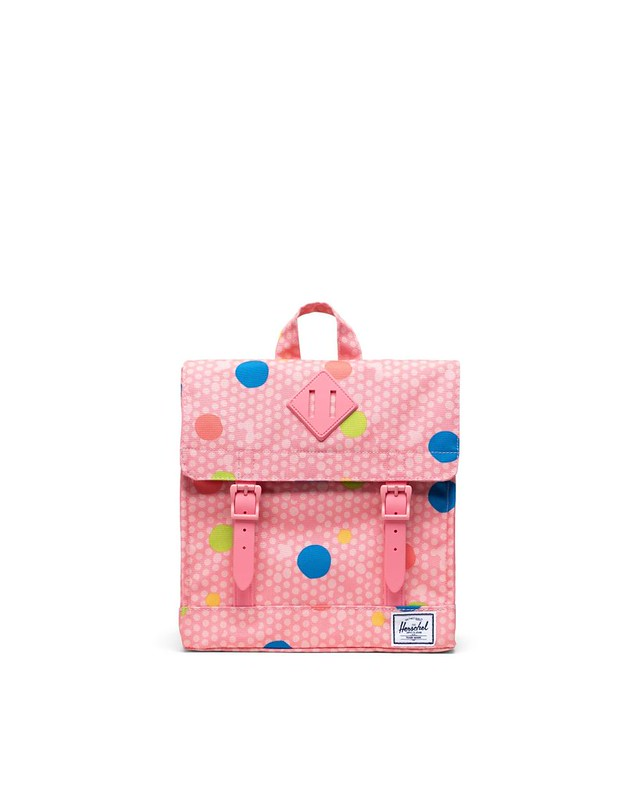 Pink and spotty Survey Backpack for kids.