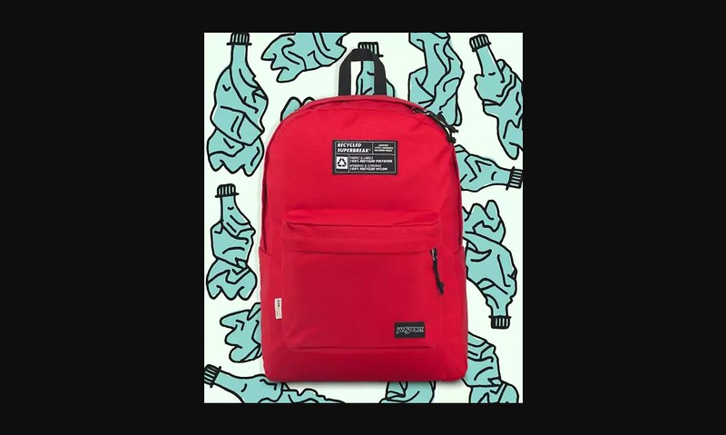 Red Recycled Superbreak backpack.