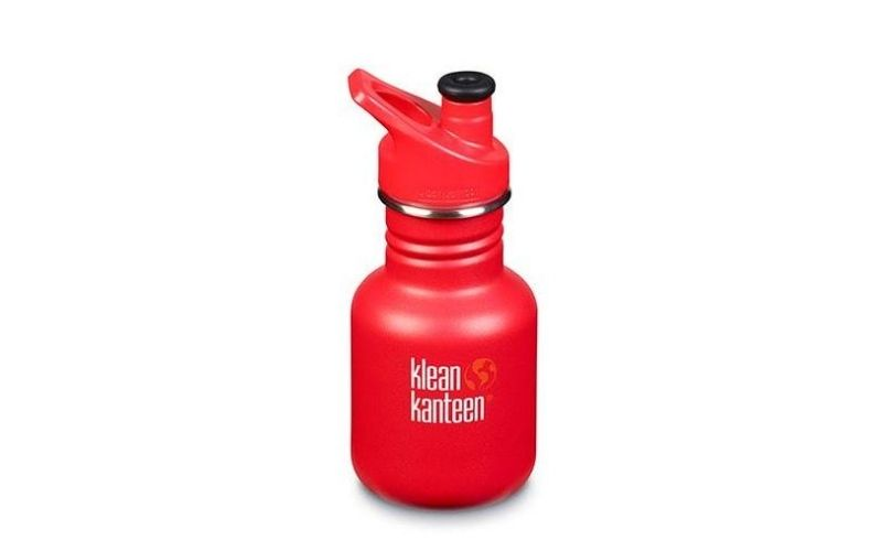 Red Klean Kanteen Stainless Steel Water Bottle With Sport Cap.