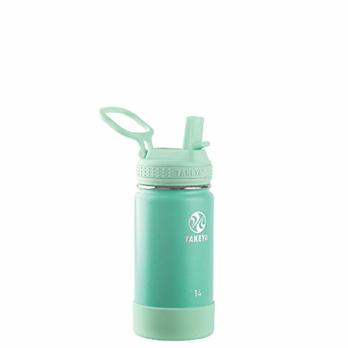 Mint green Takeya Kids' Stainless Steel Insulated Water Bottle.