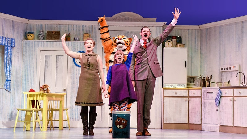 The Tiger Who Came To Tea cast on stage.