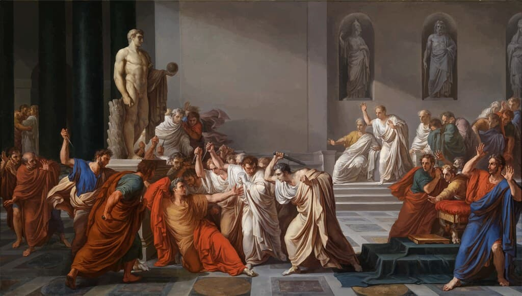 Painting of Julius Caesar with the rest of the Senate.