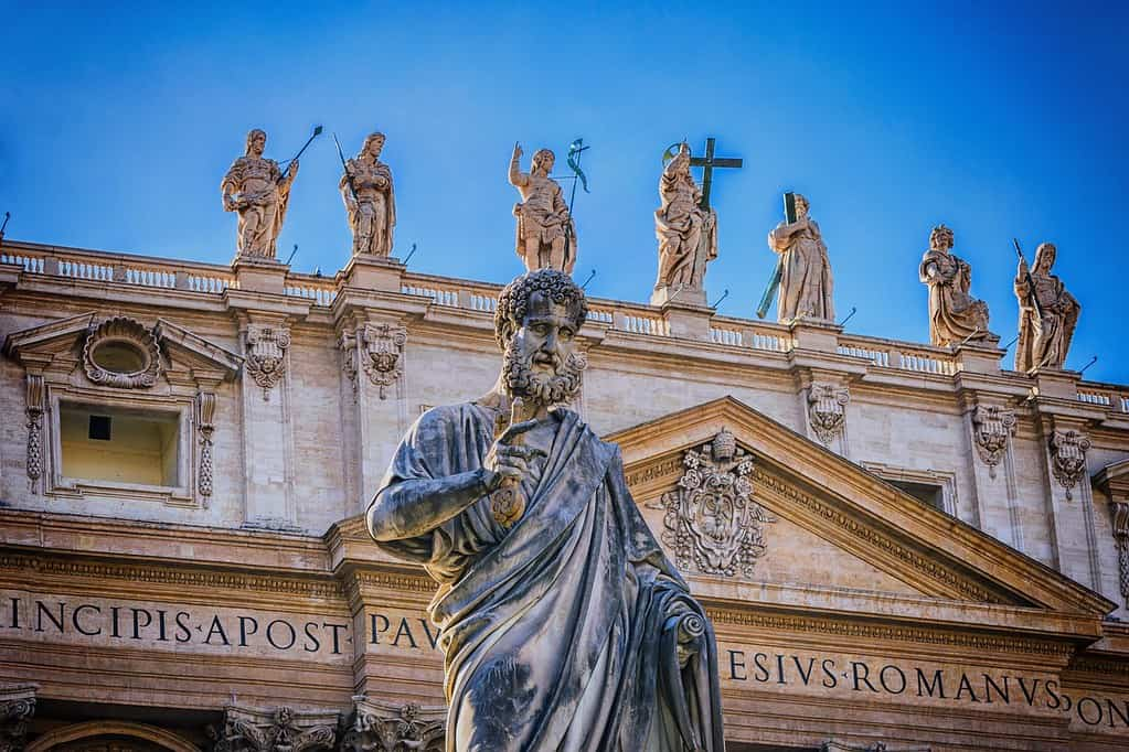 Statues of the Roman gods on the top of a building.
