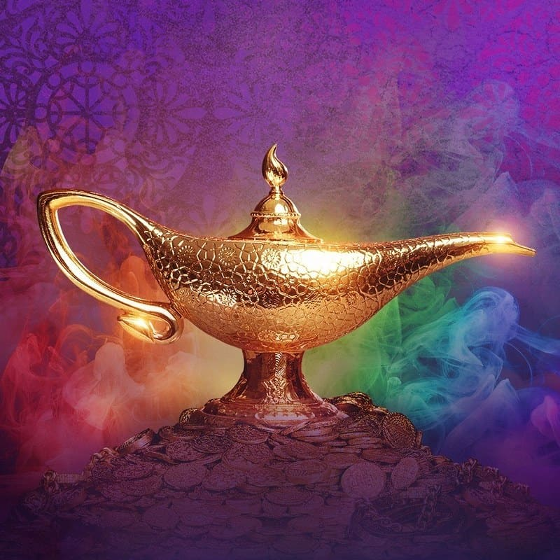 Glowing gold lantern from Aladdin against a purple background.