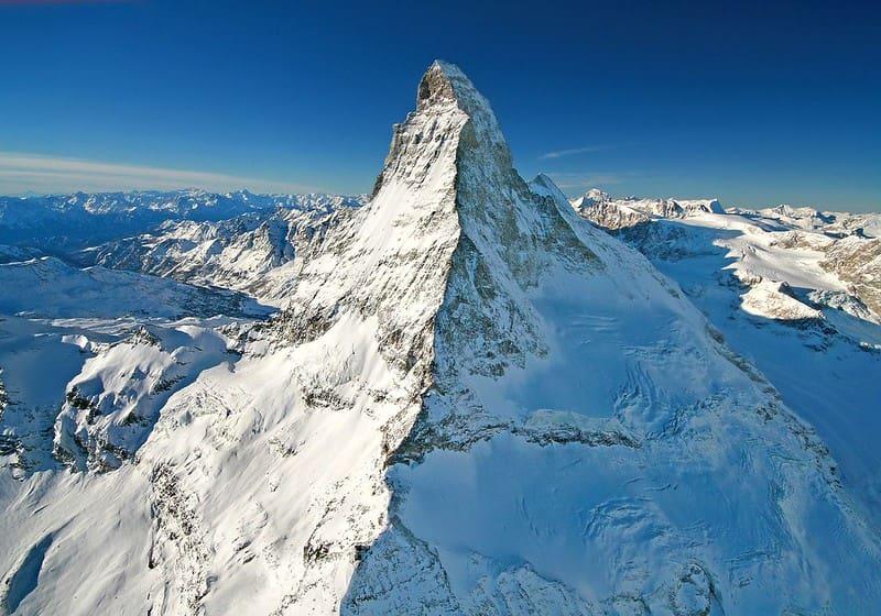 The snowy peak of the Matterhorn mountain.
