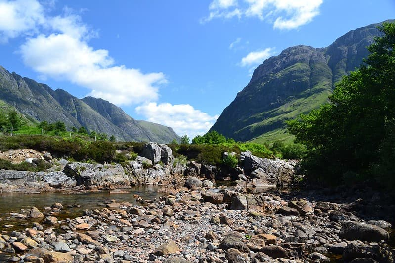 The green and rocky landscape around Ben Nevis, the tallest mountain in the UK.