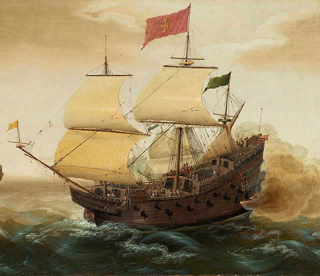 Painting of a Spanish galleon ship out at sea.