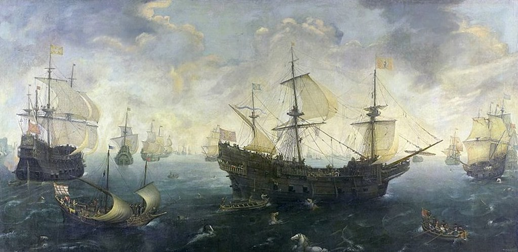 Painting of many boats fighting the Spanish Armada and rescue boats in the water.