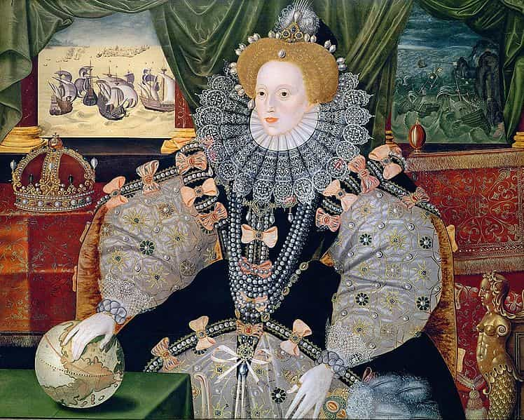 One of Queen Elizabeth I's many Armada portraits, the British victory painted into the background.