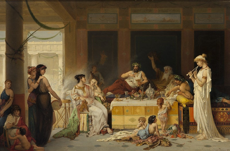 Painting of a Roman banquet, guests reclining on tables and on the floor, food laid out.