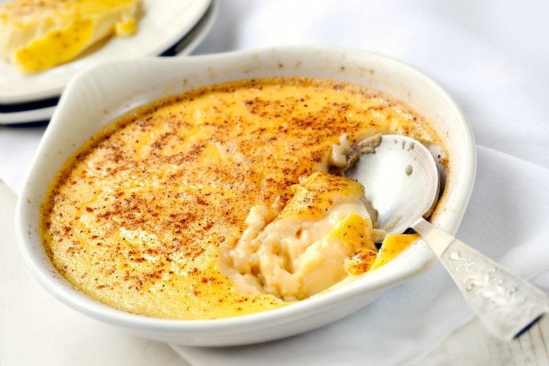 Dish of baked egg custard, a typical Roman dessert.