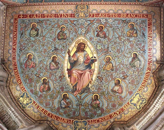 Anglo-Saxon painted ceiling of Jesus and his twelve disciples.