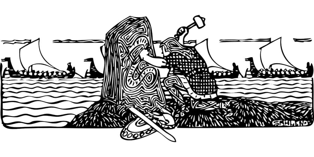 Drawing of a Viking carving out writing in a stone.