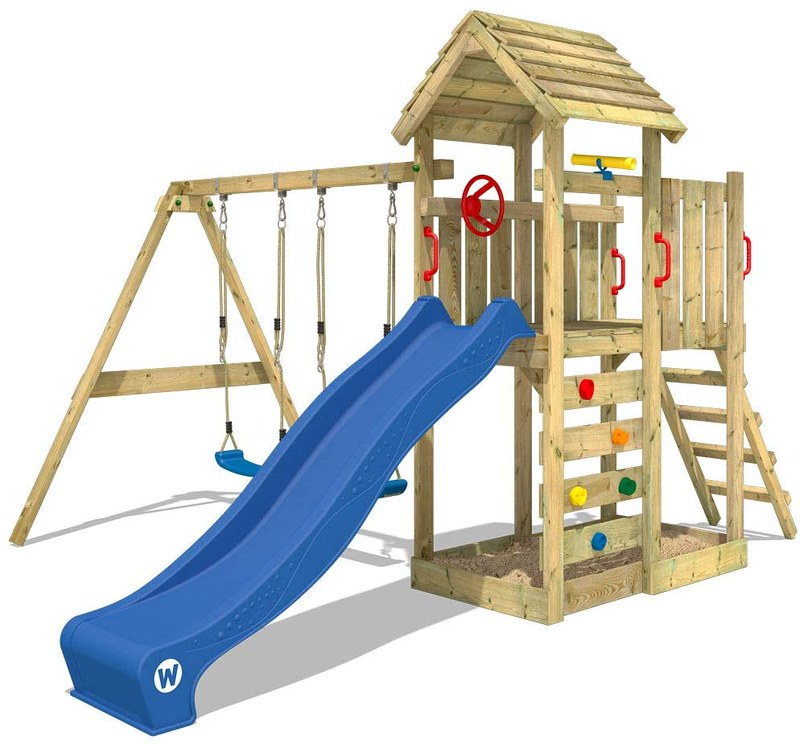 WICKEY Wooden Playhouse With Slide And Swing.