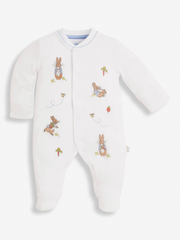 2-Piece Peter Rabbit Veg Patch Embroidered Baby Sleepsuit & Hat.