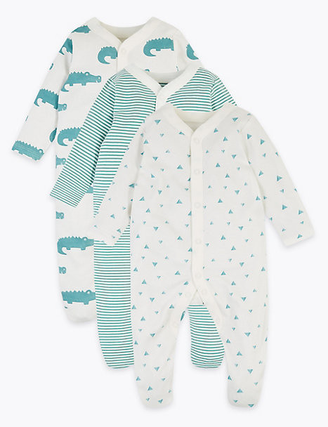 3 Pack Organic Cotton Patterned Sleepsuits.