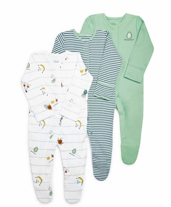 Fruit Jersey Sleepsuits: 3 Pack.