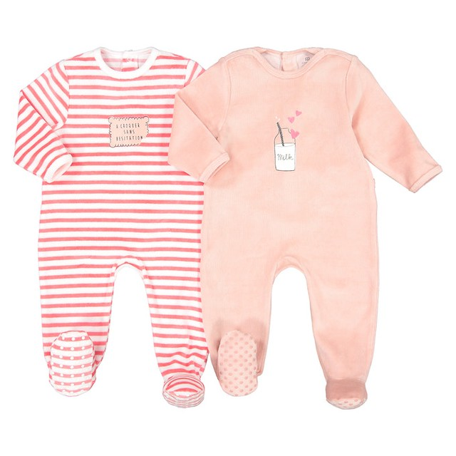 Pack of 2 Velour Sleepsuits.