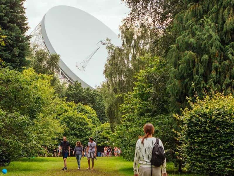 The Lovell telescope visible through the trees at Jodrell Bank Discovery Centre.