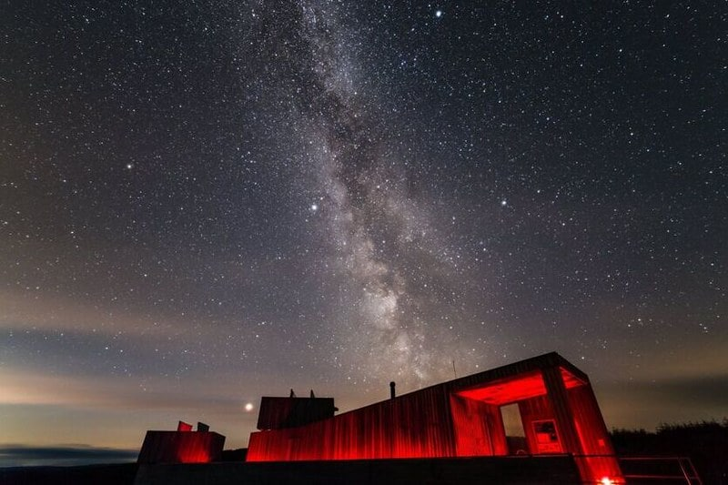 Magnificent views of a star-filled sky at night rom Kielder Observatory.