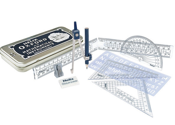Helix Oxford Premium Maths Set including a pair of compasses, ruler, set squares and more.