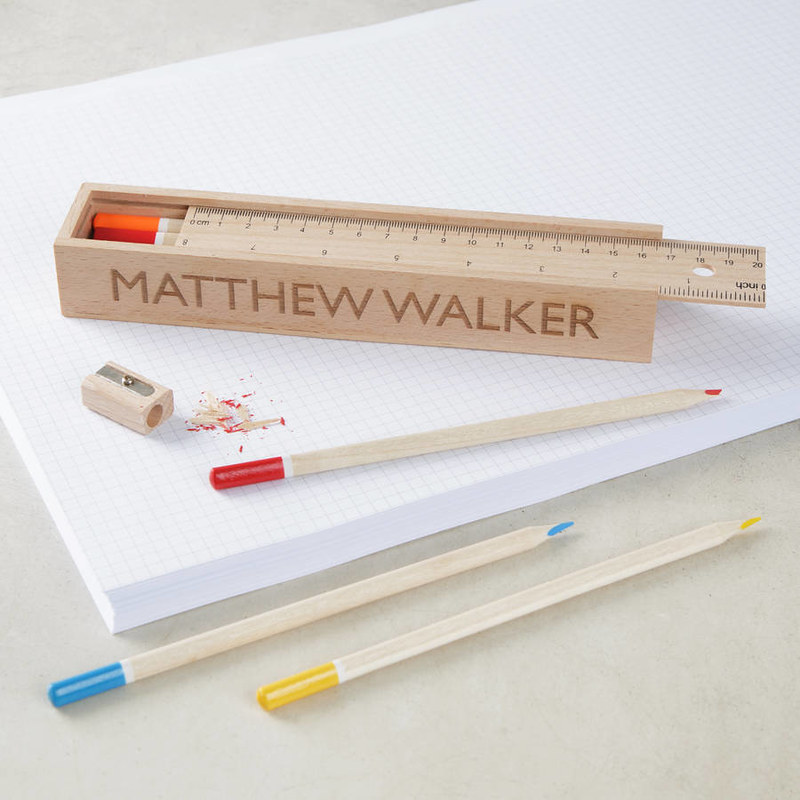 Personalised Wooden Pencil Case Box.