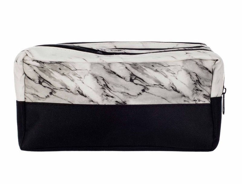 Triple Pocket Marble Pencil Case with a plain black bottom half and white and grey marble design on top.