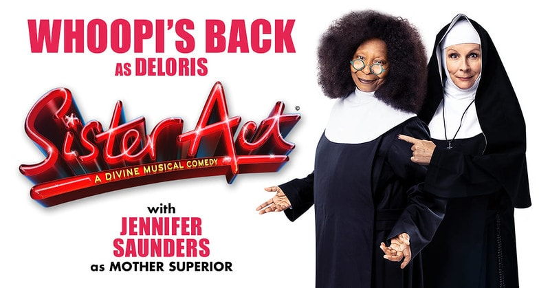 Whoopi Goldberg and Jennifer Saunders in the promotional poster of Sister Act.