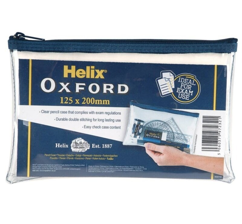 Helix Oxford Clear Pencil Case with navy lining and zipper.