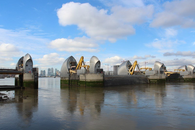 View of the Thames Barrier, London.