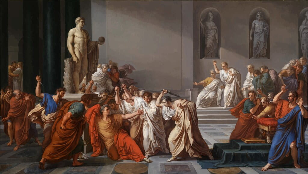Painting of Julius Caesar in the Roman Senate with the other senators.