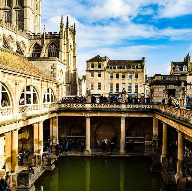 View of the Roman baths in Bath, England, from above.