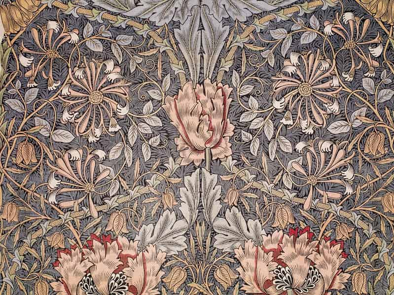 William Morris art, a floral, leafy wallpaper design.