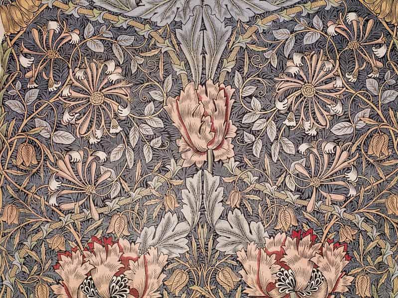 William Morris art, a floral, leafy wallpaper design.