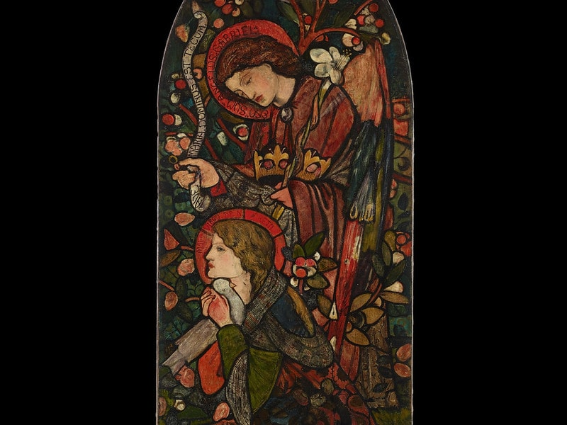 Stained glass window art of two women.