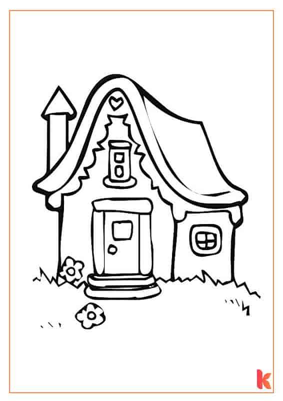 The first free colouring page of a Gingerbread House.