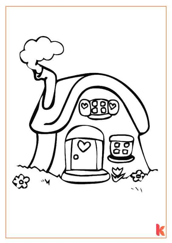 The second free colouring page of a Gingerbread House.