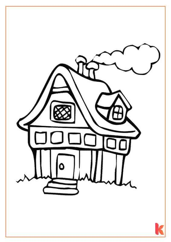 The third free colouring page of a Gingerbread House.