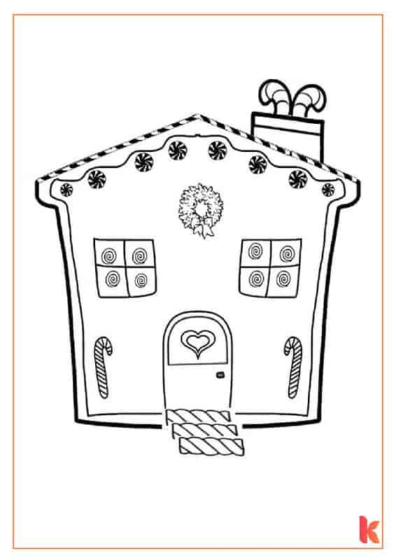 The fourth free colouring page of a Gingerbread House.
