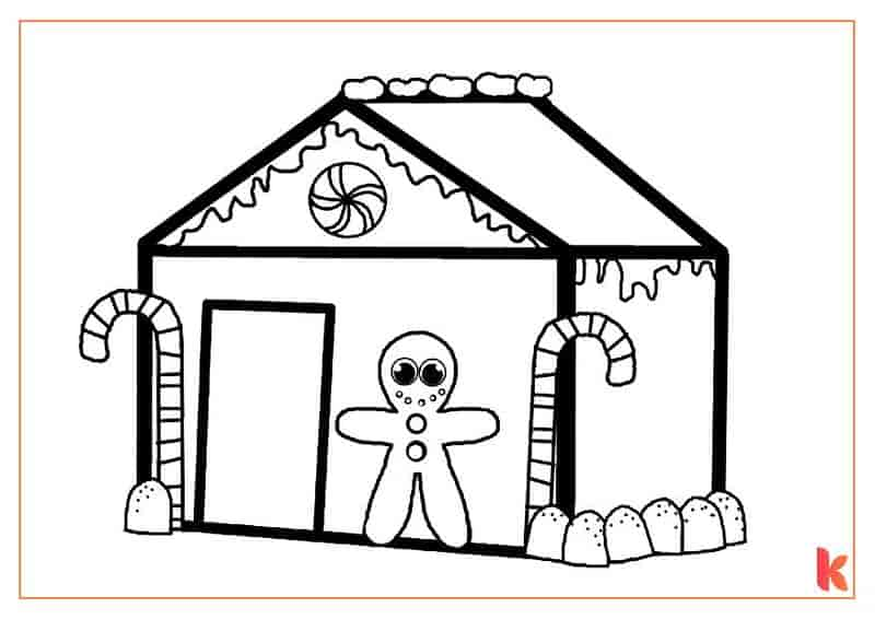 The fifth free colouring page of a Gingerbread House.