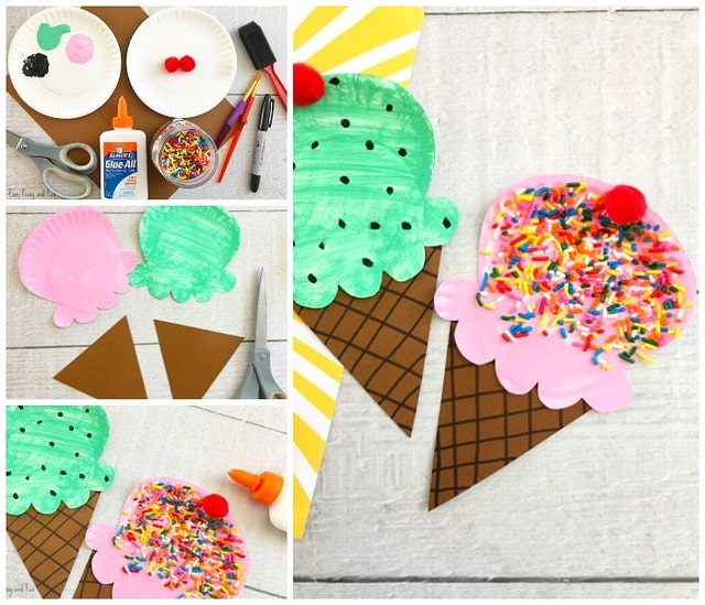Ice cream cones made out of painted paper plates.