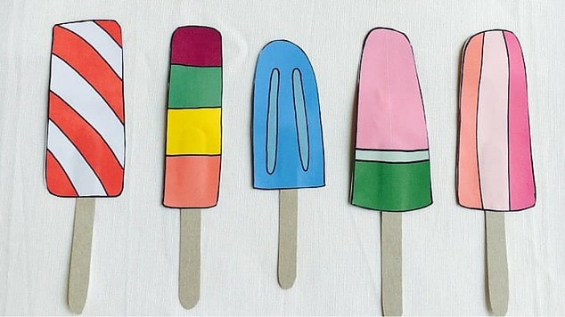 Painted ice lollies with a real ice lolly stick glued on to look lifelike.