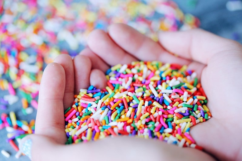 A handful of multi-coloured sprinkles to use for ice cream crafts.