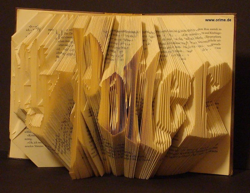 'Harry Potter' spelled out in folded book pages.