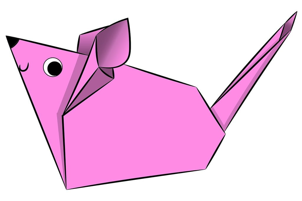 Cartoon drawing of a pink origami mouse with a face.