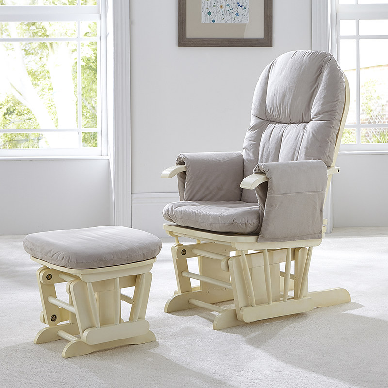 Tutti Bambini Recliner Glider Chair And Stool.