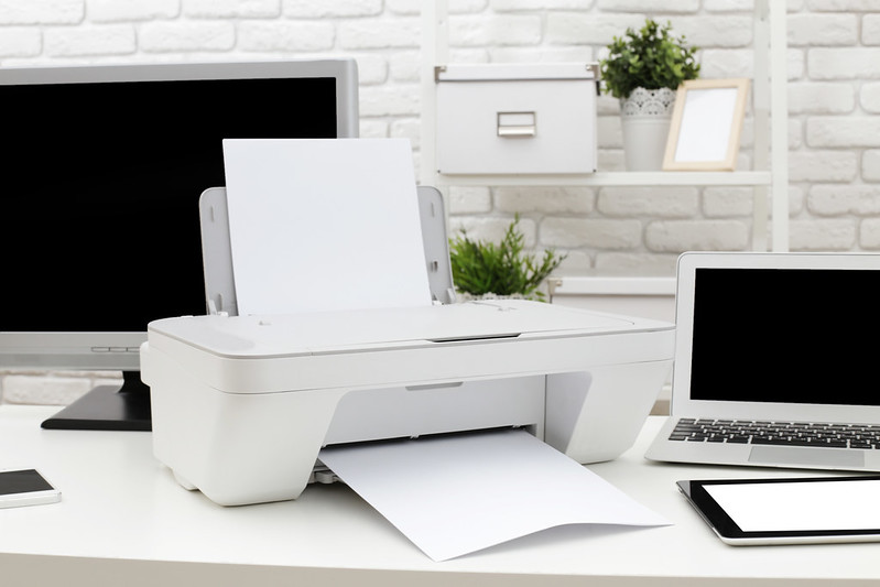Printer and laptop desk at home