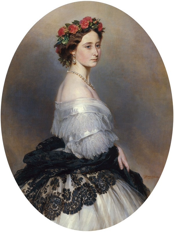 Portrait of Princess Alice, wearing a garland of flowers around her head.