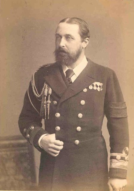 Black and white portrait of Prince Alfred in his Royal Navy uniform.