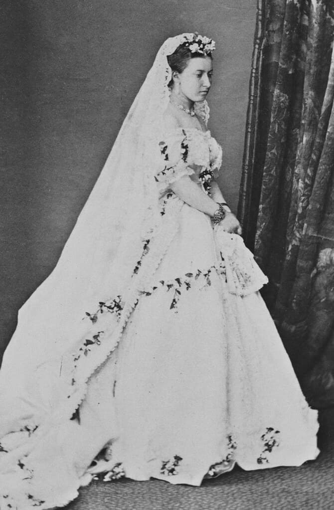 Black and white image of Princess Helena wearing her wedding dress and veil.